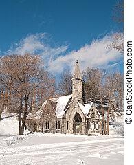 église, hiver, jour