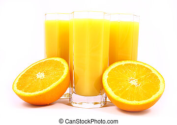 Juice Orange-fruits juice isolated on white
