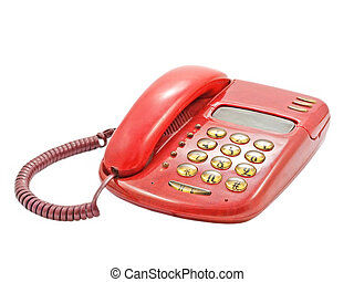 Red hhoneIsolated - Red phone isolated on a white background...