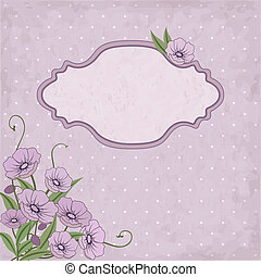 Vector floral frame with violet flowers and place for text