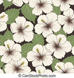 Vector seamless tropical pattern with hibiscus flowers