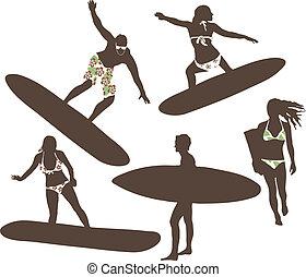Vector illustration of surfers - Vector illustration of men...