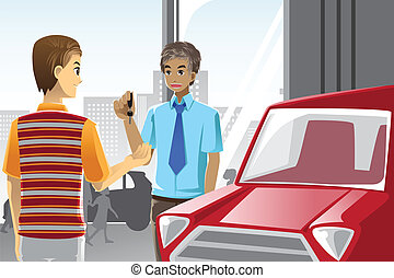 Buying a car - A vector illustration of a man buying a car...