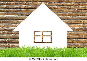Wooden eco house icon and green grass - Environmentally...