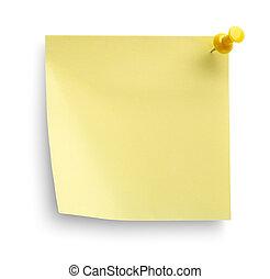 amarillo, cuaderno, aislado
