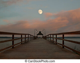 dock and moonrise - doick and moonrise scene