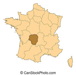 Map of France, Limousin highlighted - Map of France where...