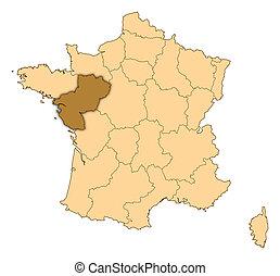 Map of France, Pays de la Loire highlighted - Map of France...