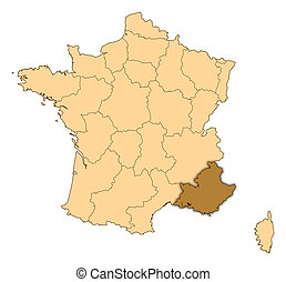 Map of France, Provence-Alpes-Cote d Azur highlighted - Map...