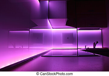 kitchen with purple led lighting - modern luxury kitchen...