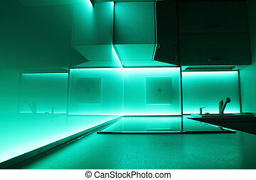 kitchen with turquoise led lighting - modern luxury kitchen...
