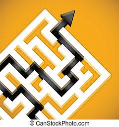 Problem Solving - Problem solving maze solution concept.