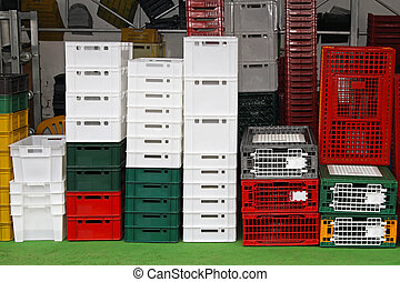 Plastic crates and cages for transportation at farm