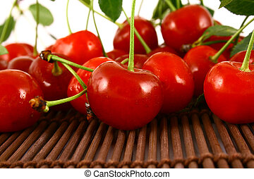 cherry - red cherry isolated on white -brown