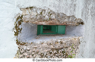 Embrasure of military bunker - Embrasure of old military...