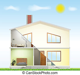 Cut in house interiors and part facade. Vector illustration