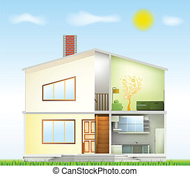 Cut in house interiors and part facade Vector illustration