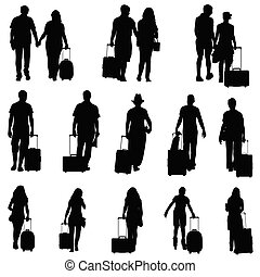 people man and woman with travel bag silhouette
