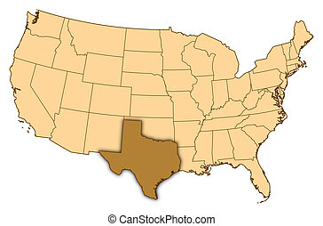 Map of United States, Texas highlighted - Map of United...