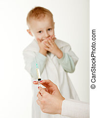 Inoculation - The boy on an inoculation at the pediatrist