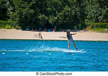 kid kite surfing