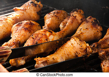 Delicious Barbeque Drumsticks - Chicken drumsticks on the...