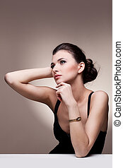 woman in exclusive jewelry - Portrait of luxury woman in...