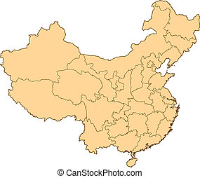 Map of China with the several provinces.