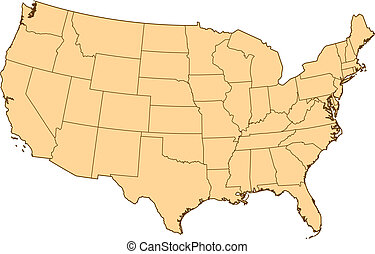 Map of United States with the several provinces.
