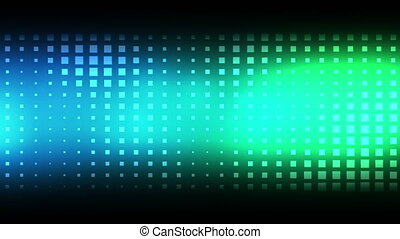 Moving blue and green squares against a black background