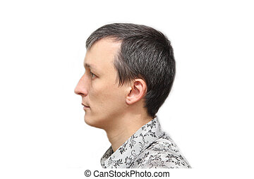 with gray hair - portrait of a man with gray hair on a white...