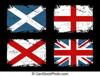 British Grunge Flags Collection - Grunge flags of Scotland,...