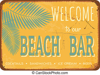 Vintage Tin Sign - Beach bar vintage metal sign.