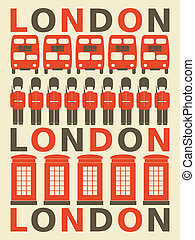 London Poster - Illustration of London symbols in red and...
