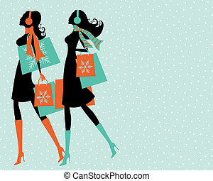 Christmas Shopping - Illustration of two young women...