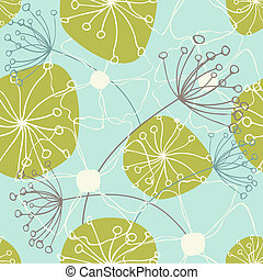 Floral Pattern - Seamless floral pattern in green and blue.