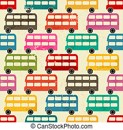 London Buses Background - Seamless pattern with colorful...