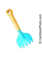 Blue toy spade, plastic shovel isolated on white background