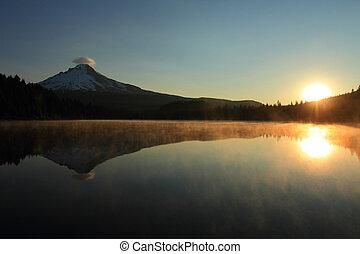 Mount Hood at sunrise - Sunrise on Mount Hood and Trillium...