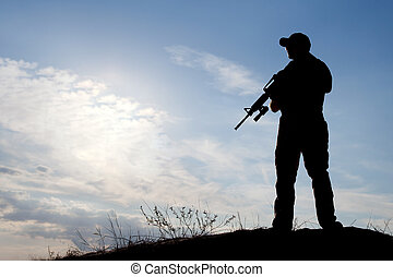 soldier against the sun - private military contractor with...
