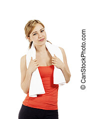 charming young fitness woman with a white towel on white background