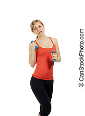 young beautiful fitness woman with blue dumbbells on white background