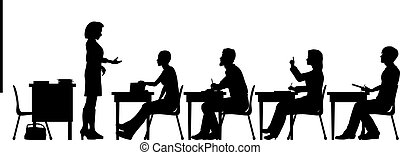 Adult education - Editable vector silhouettes of adult...