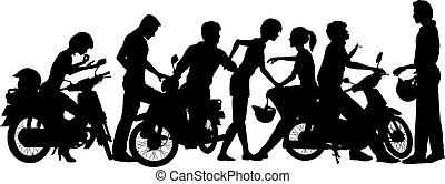Biker youth - Editable vector silhouettes of a young...