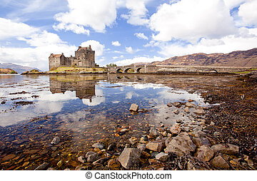 Eilean Donan Castle, Highland Scotland - Reflection of...