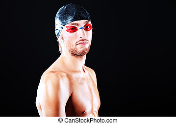 muscular sportsman - Portrait of a man professional swimmer...