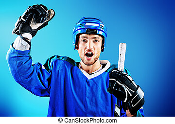 ice hockey player - Portrait of a handsome ice-hockey player...
