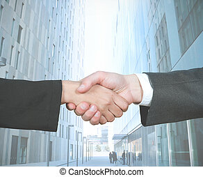 Business handshake of businesswoman and businessman