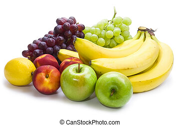 fruit mix of apples, nectarines, grapes, bananas and lemon