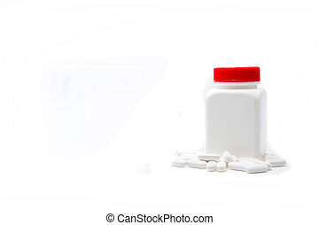 White bottle medicine isolate on white background